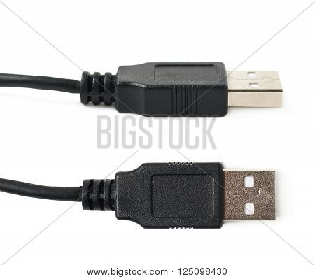 Close-up shot of a Type A USB plug isolated over the white background, set of two different foreshortenings
