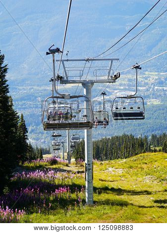 WHISTLER, BC, CANADA - August 18, 2015 :Solar Coaster Chairlift on Backcomb Mountain, Whistler, BC Canada, August 18, 2015