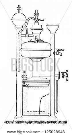 Gasifier minimus, vintage engraved illustration. Industrial encyclopedia E.-O. Lami - 1875.