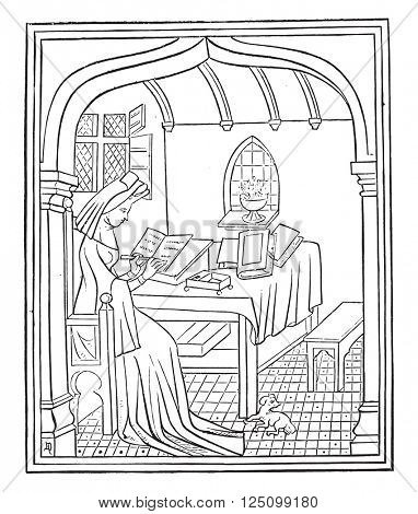Christine de Pisan in her study, vintage engraved illustration. Magasin Pittoresque 1857.