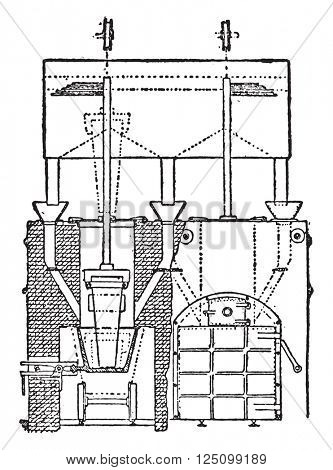 Electric oven spray for the preparation of calcium carbide, vintage engraved illustration. Industrial encyclopedia E.-O. Lami - 1875.