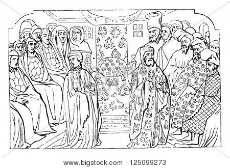 Meeting of parliament convened to file Richard II, vintage engraved illustration. Colorful History of England, 1837.
