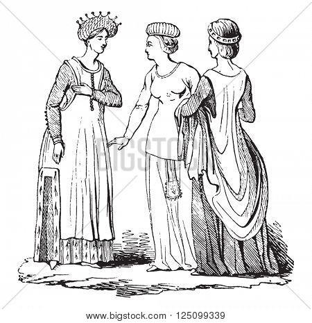 Woman costume under Richard II, vintage engraved illustration. Colorful History of England, 1837.