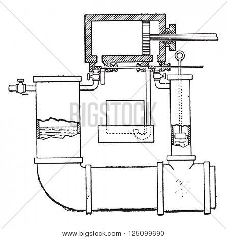 Machine acetylene Hatmaker, vintage engraved illustration. Industrial encyclopedia E.-O. Lami - 1875.