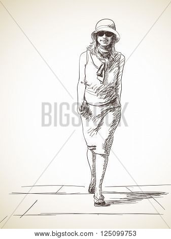 Sketch of happy woman walking up on stairs, Hand drawn illustration