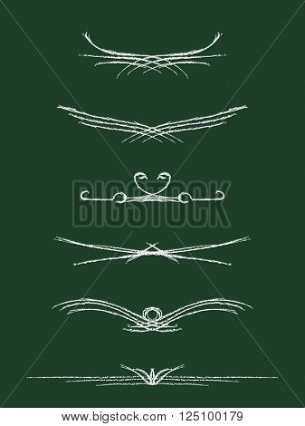 Hand drawn calligraphic line page decoration white chalk on black board, Vector design element set