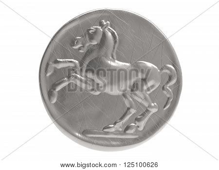 3D illustration coin with horse. icon coin. head of horse. metal gold coin ancient. on white background isolated object