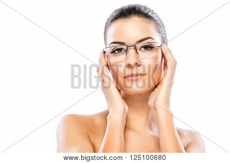 Beauty headshot of a beautiful young woman with eyeglasses