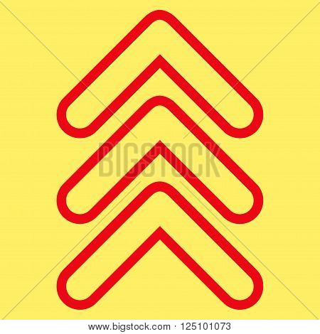 Triple Pointer Up vector icon. Style is contour icon symbol, red color, yellow background.