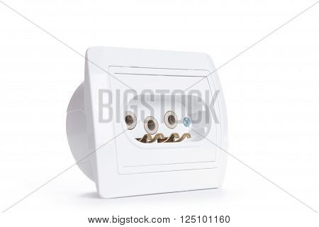 White Electric Socket . European System.isolated