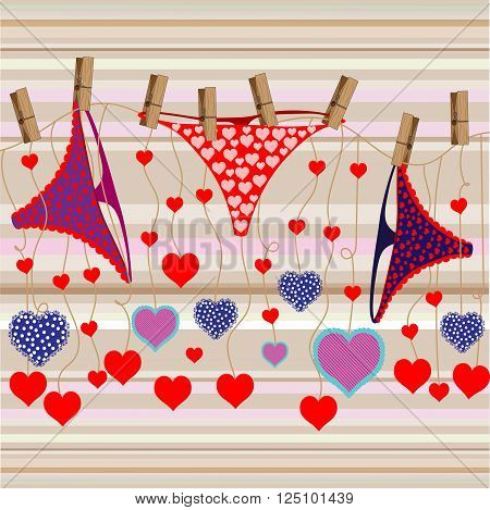Bright color vector graphic illustration with love symbol of beautiful heart shape and female cute pants on light background