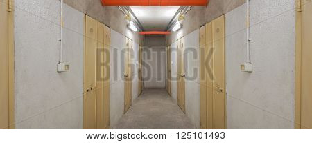 Entrance corridor to basement cellar vaults for wine storage