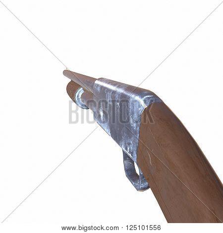 Ithaca old shotguns 3D illustration on white background isolated