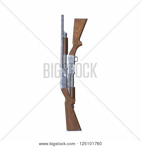Ithaca old shotguns 3D illustration on white background isolated