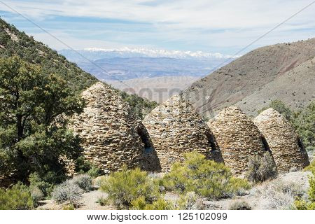 Charcoal Kilns with the Sierra Nevada in the background, Death Valley National Park.