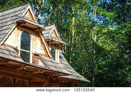 Traditional polish wooden hut from Zakopane Poland.