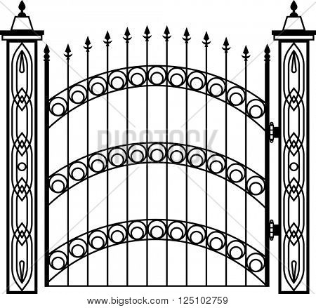 Wrought Iron Gate Pillar Raster Illustration