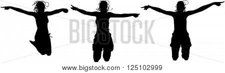 Three happy sporty women silhouette jumping in the air, black backlight isolated on white background.