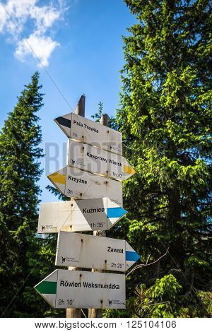 Direction sign on mountain trail High Tatras Poland
