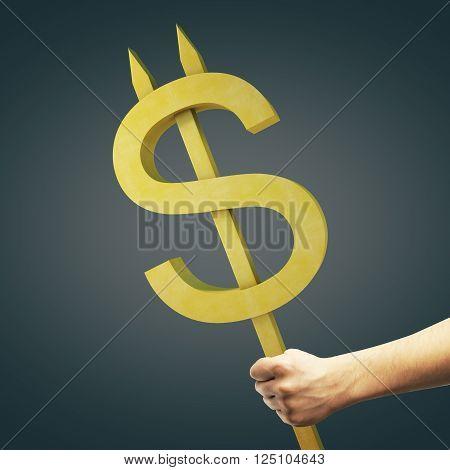 Hand holding golden devil dollar sign on dark background. 3D Rendering