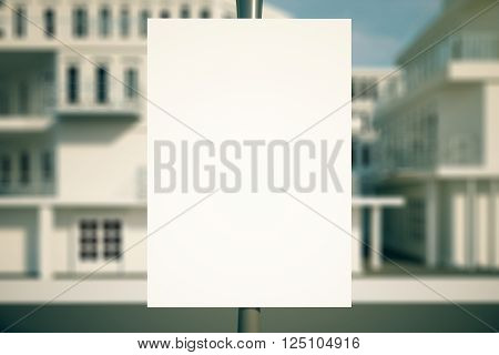 Closeup of blank poster on pole with blurry buildings in the background. Mock up 3D Rendering