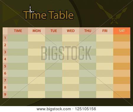 Timetable Schedule Planner Raster Illustration