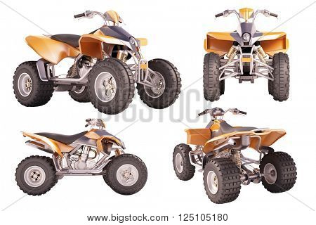 Set of ATV quad bike isolated on white background