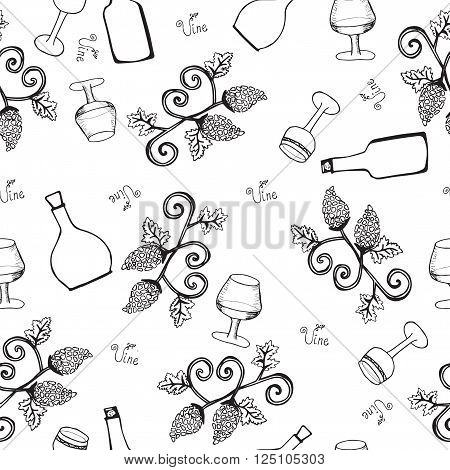 Wine seamless pattern. Bottle and glass with wine on a white background. Garden stuffs and leaves of vine.