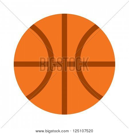 Orange basketball ball sport equipment competition sphere play game symbol flat vector illustration.