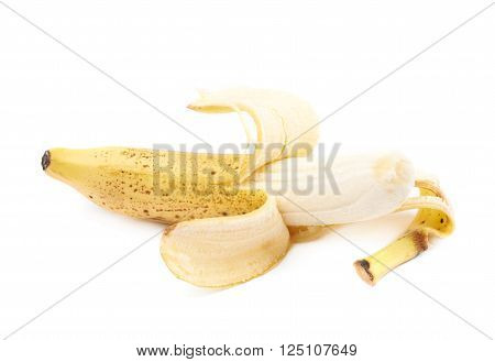 Single opened spotted banana isolated over the white background