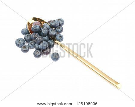 Golden spoon full of bilberries isolated over the white background