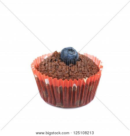 Chocolate muffin cupcake with the bilberry, isolated over the white background