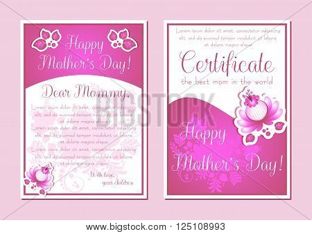 Greeting cards with floral ornament in pink and white colors. Postcard in two variants for Women's Day Mother's Day Bithday Anniversary. Vector illustration