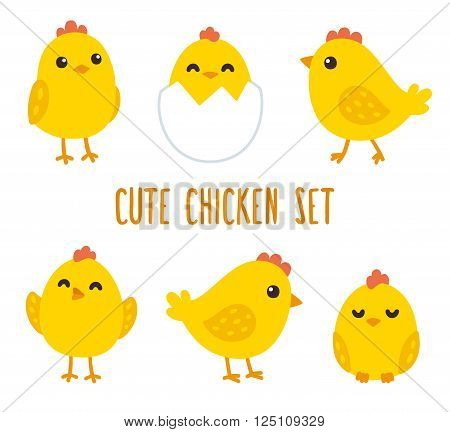 Cute cartoon chicken set. Funny yellow chickens in different poses vector illustration.