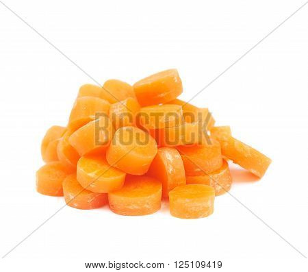 Pile of baby carrot slices, composition isolated over the white background