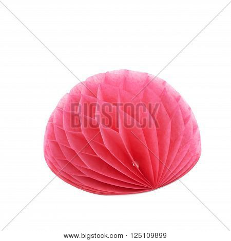 Red honeycomb pom-pom paper ball decoration isolated over the white background