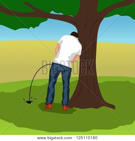 illustration of pissing man silhouette standing under tree