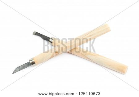 Two hand carving wood chisel tools isolated over the white background
