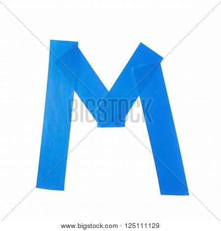 Letter M symbol made of insulating tape pieces, isolated over the white background