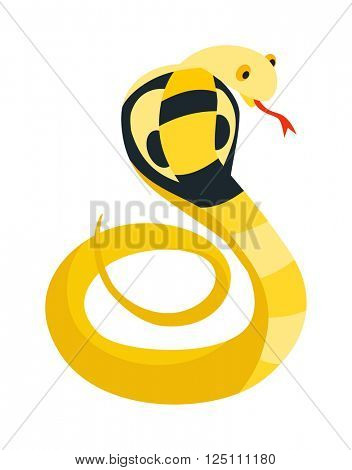 Cobra Snake coiled and ready to strike showing fangs tongue danger reptile animal wildlife cartoon vector.