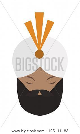 Portrait of casually indian face young beard, mustache man with white gandhi vector.