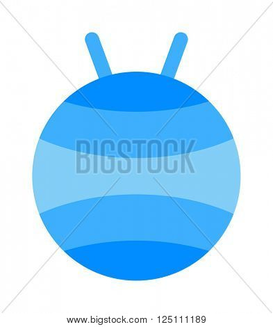 Fitball or large sports rubber ball for fitness exercises healthy lifestyle flat vector illustration.