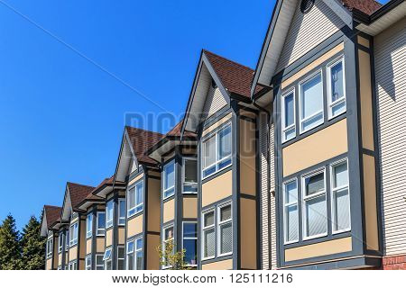 Modern apartment buildings in New Westminster British Columbia Canada.