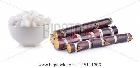 sugarcane and sugar cube on white background