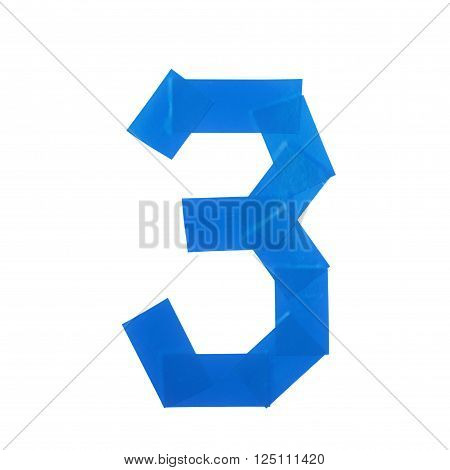 Number three symbol made of insulating tape isolated over the white background
