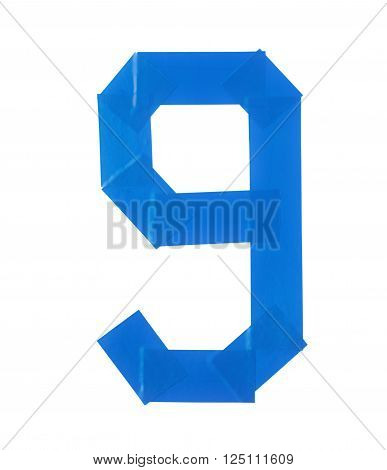 Number nine symbol made of insulating tape isolated over the white background