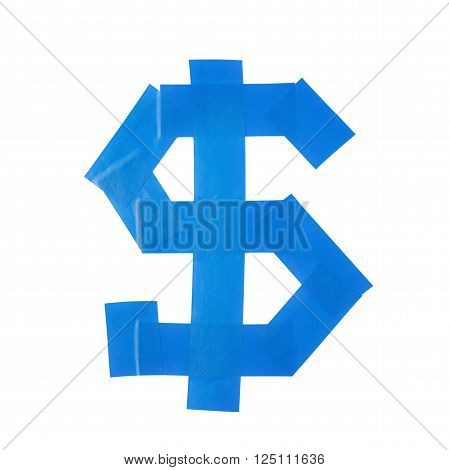 Dollar symbol made of insulating tape isolated over the white background