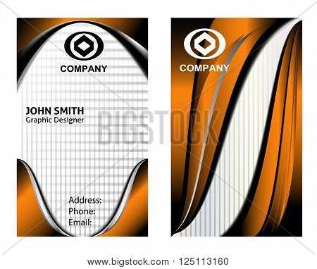 Business card set vector design template wave