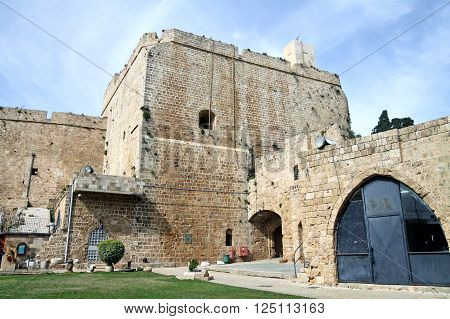 ACRE ISRAEL - MARCH 02 2016: The fortified city of crusaders in Acre