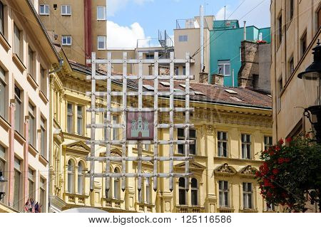 A hanging portcullis symbolizes the place where Laurinc Gate was located in Bratislava Slovakia